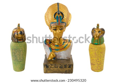 golden egypt pharaoh and his bodyguards isolated on white background. This item is my collection, no restrict in copy or use - stock photo