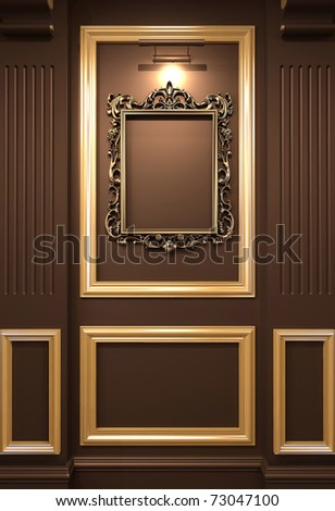 Golden empty frame on wooden wall in Luxurious interior. Old exhibition - stock photo