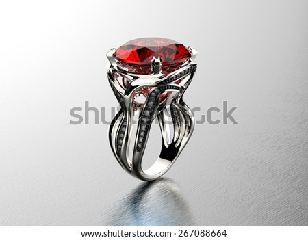 Golden Engagement Ring with garnet. Jewelry background - stock photo