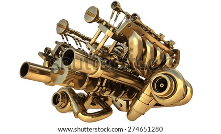 Golden engine isolated on white background. High resolution 3d