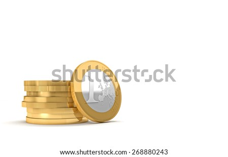 golden euro coin and copyspace