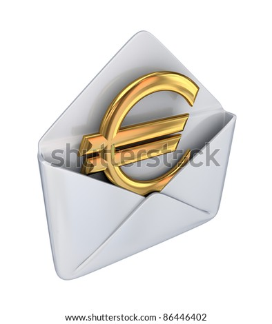 Golden euro sign in a white envelope.Isolated on white background.3d rendered.
