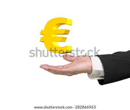 Golden euro sign in the man's hand