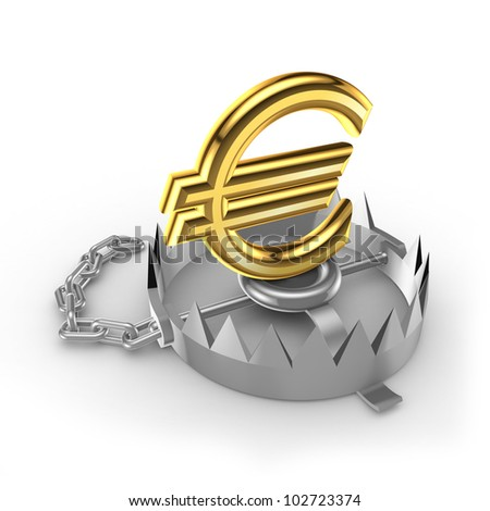 Golden euro  sign on a trap.Isolated on white background.3d rendered. - stock photo