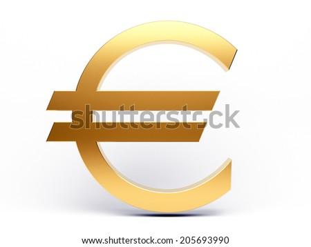 Golden euro sign on white background. 3d render illustration - stock photo