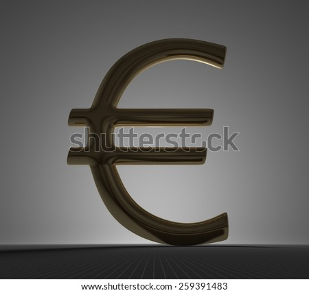 Golden euro sign standing on gray checkered background, backlight and high contrast