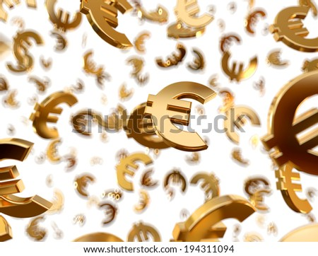 Golden euro signs falling on the white background. - stock photo