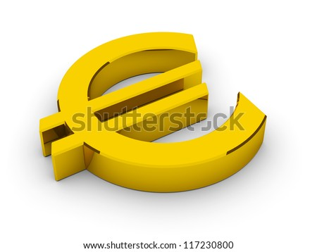 Golden Euro Symbol / 3D render - stock photo