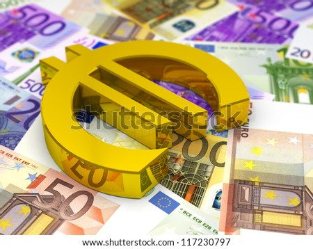 Golden Euro Symbol on Euro Bills / 3D render