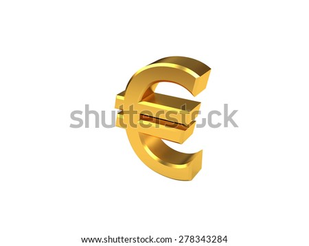 Golden euro symbol With no background - stock photo