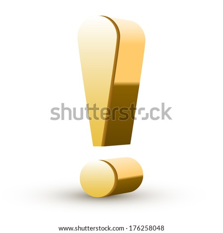 golden exclamation mark isolated white background - stock photo