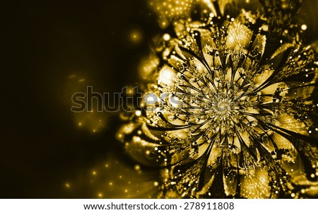 golden  fantasy artistic flower with lighting effect. Beautiful shiny futuristic background for wallpaper, interior, album, flyer cover, poster, booklet. Fractal artwork for creative design. - stock photo