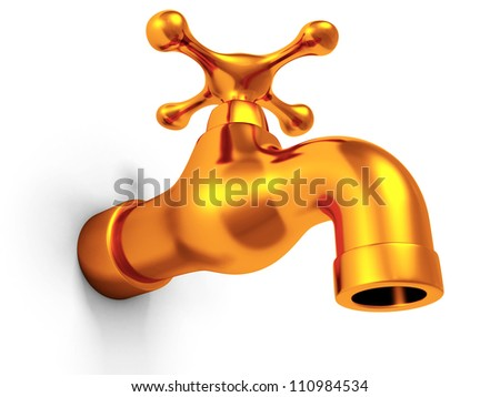 Golden faucet tap on white background