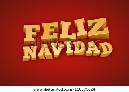 Golden Feliz Navidad (Merry Christmas in spanish) text on a red background (3d illustration) - stock photo