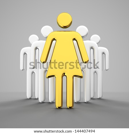 Golden female figure leads the crowd of men - stock photo