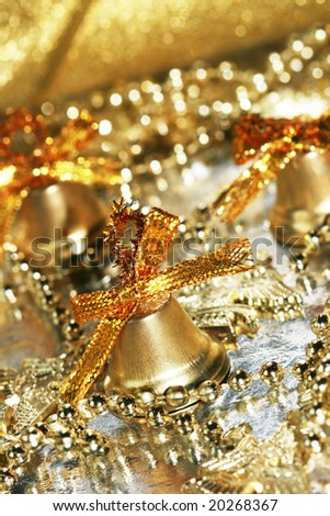 golden festive bells with decoration