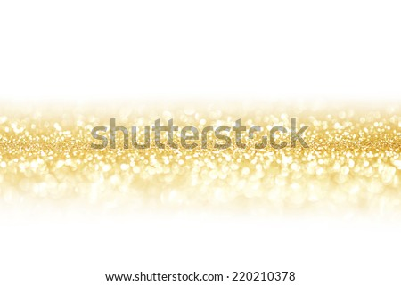 Golden festive glitter background with defocused lights - stock photo