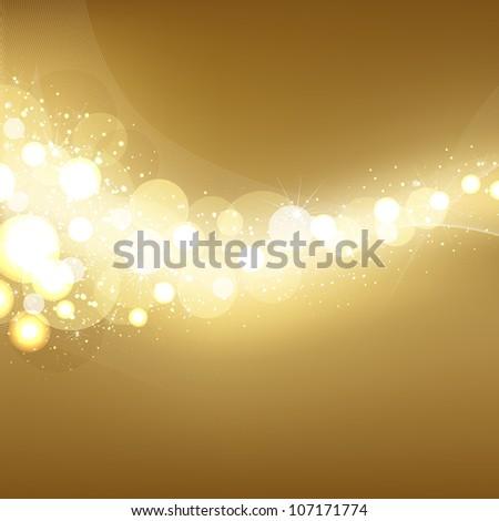 Golden Festive Lights Elegant Background - stock photo