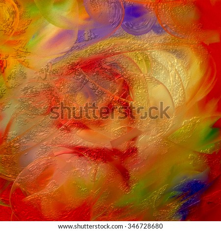 Golden festive painting in sparkling holiday colors. - stock photo