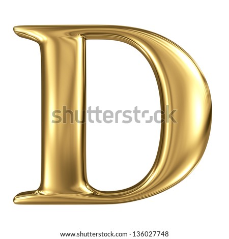 Golden figure high quality 3d render isolated on white - stock photo