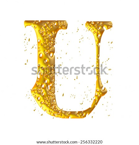golden figure made in 3D - U - stock photo