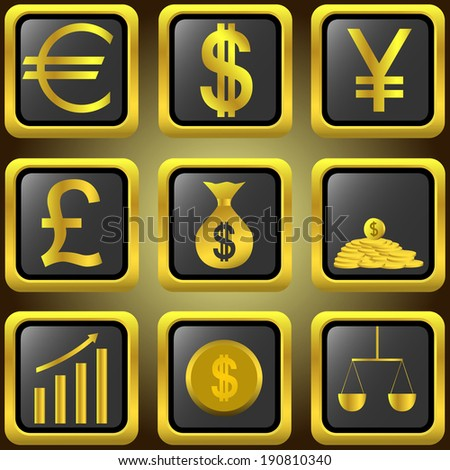 Golden finance buttons for design. Raster illustration. - stock photo