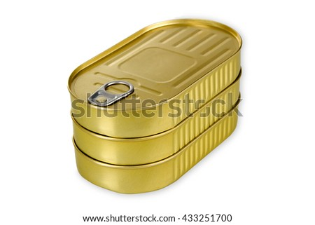 Golden Fish can isolated on white background - stock photo