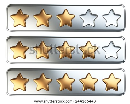 Golden five stars rating system. 3d illustration isolated on a white background.