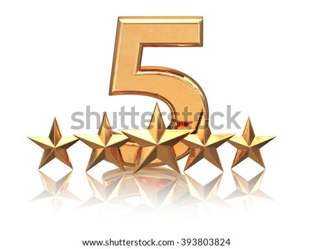 Golden five stars. Service rating of hotels. 3d - stock photo