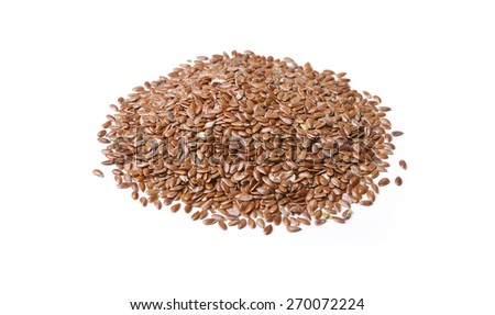 Golden flax seed isolated on white. - stock photo