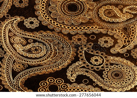 golden floral fabric  - stock photo