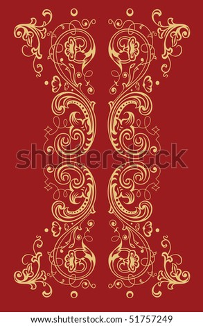 Golden floral ornament on the red