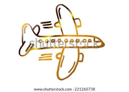 golden flying plane - stock photo