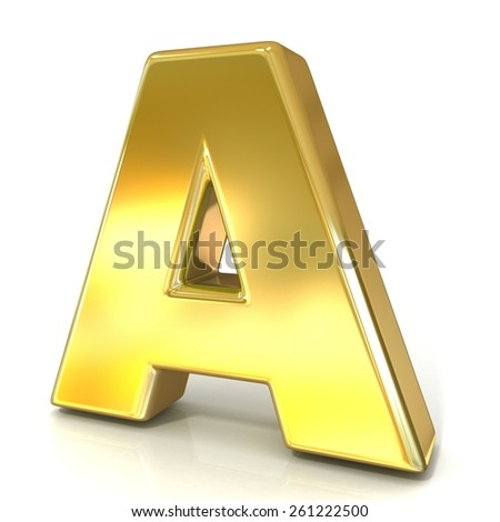 Golden font collection letter - A. 3D render illustration, isolated on white background.