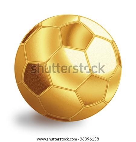 Golden football ball illustration. Isolated on white background. - stock photo