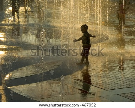 Golden fountain - stock photo