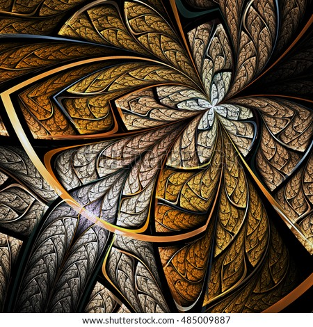 Golden fractal butterfly or flower, digital artwork for creative graphic design