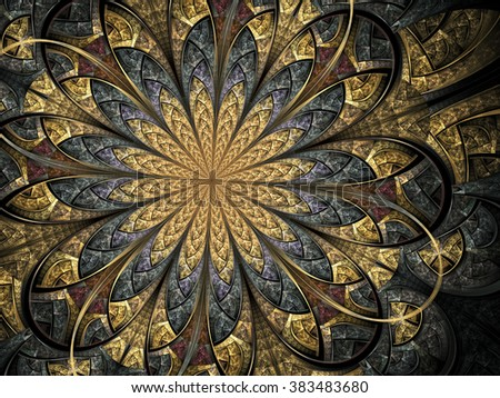 Golden fractal flower, digital artwork for creative graphic design