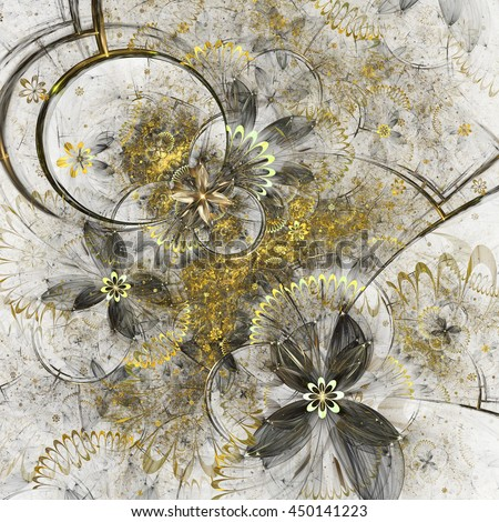 Golden fractal flowers, digital artwork for creative graphic design