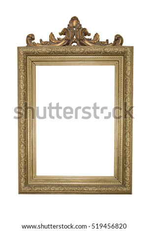 Golden frame and decorated with wooden bows isolated on white background