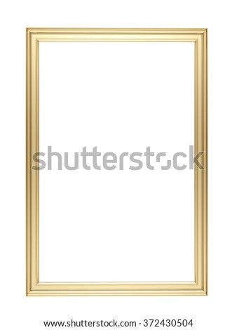 golden frame isolated - stock photo