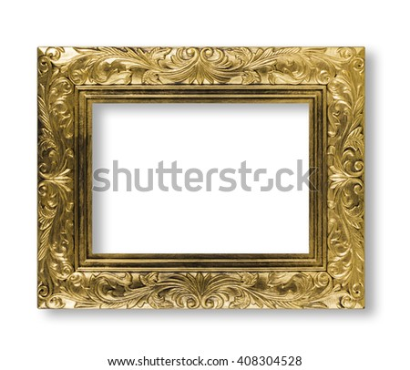 golden frame isolated on white background, antique gold frame - stock photo