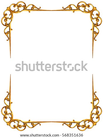 Golden Frame Isolated On White Background Stock Photo (100% Legal ...