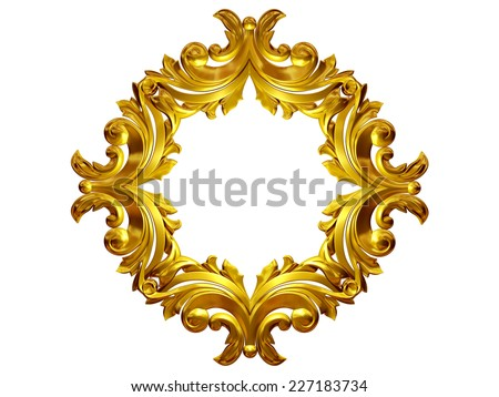 golden frame with baroque ornaments in gold for pictures or mirror - stock photo
