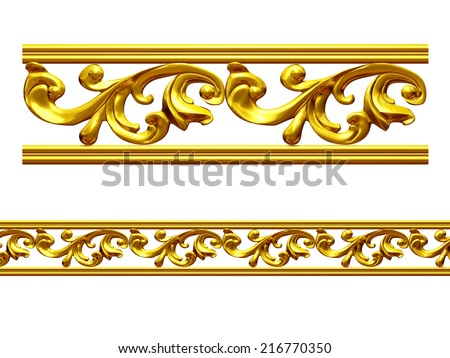 golden frame with baroque ornaments in gold for pictures or mirror. This complements my ninety degree angle items for a circle or corner. See set, decorative ornaments, in my portfolio - stock photo