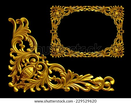 golden frame with baroque ornaments in gold.  mirror the Element to complete the frame - stock photo