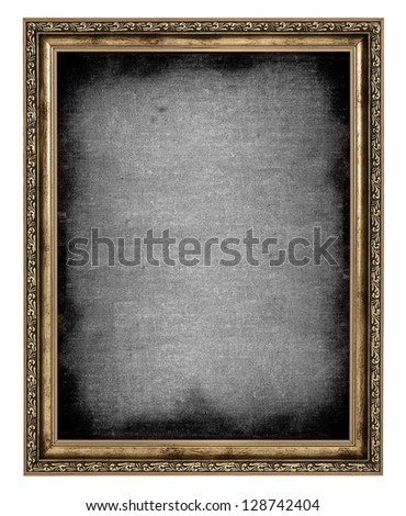 golden frame with empty canvas isolated on white background - stock photo