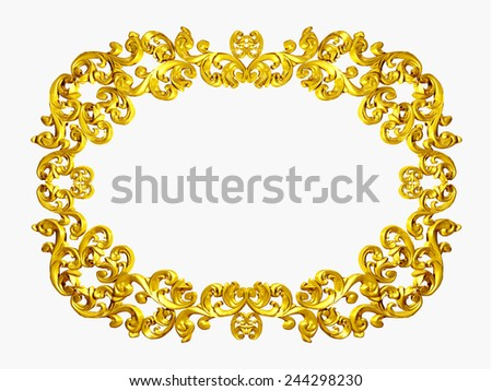 golden frame with organic ornaments in gold for pictures or mirror - stock photo