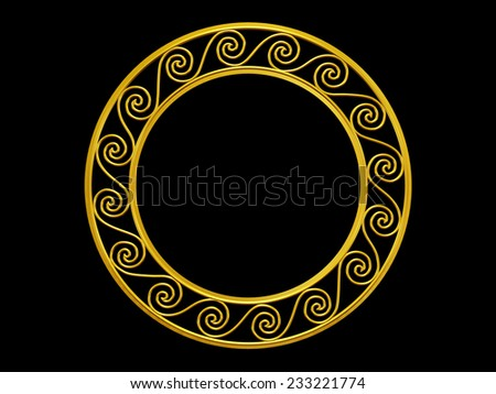 golden frame with wave ornaments in gold for pictures or mirror - stock photo