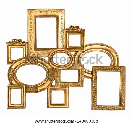 golden framework isolated on white background. empty baroque frame for photo and picture - stock photo